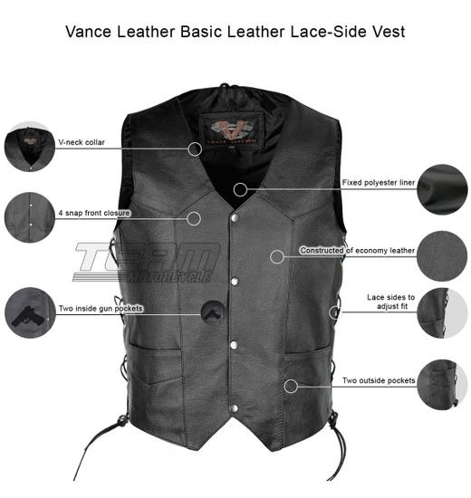 Vance VL902S Mens Black Side Lace Leather Vest - Infographics