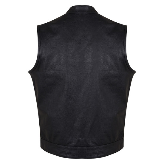 Vance VL914S Men's Black Zipper and Snap Closure Concealed Carry SOA Style Leather Biker Motorcycle Vest - Back View