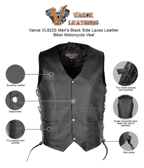 Vance VL922S Men's Black Side Laces Leather Biker Motorcycle Vest - Infographics