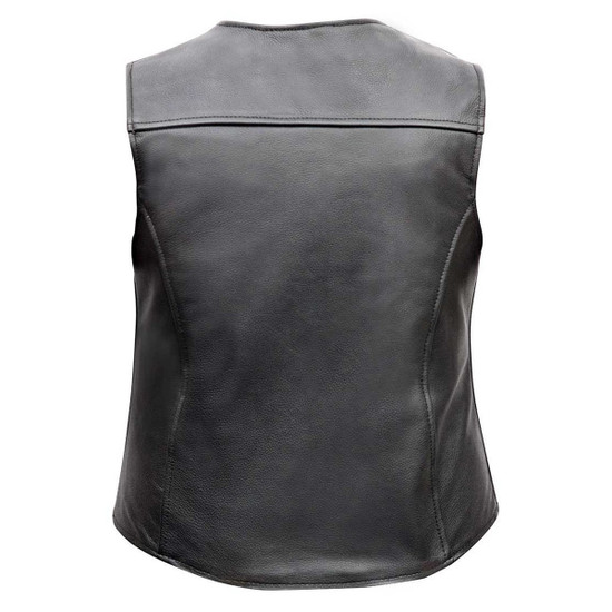 Vance VL1047S Womens Black Five Snap Lady Biker Leather Motorcycle Vest - Back View
