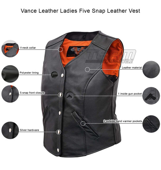 Vance VL1047S Womens Black Five Snap Lady Biker Leather Motorcycle Vest - Infographics