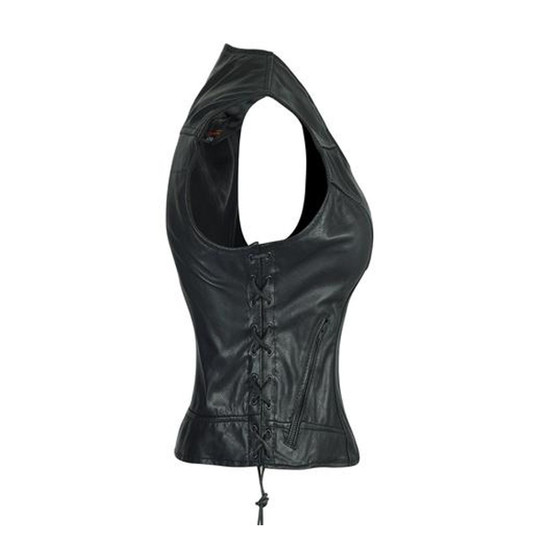 High Mileage HML1042 Womens Lady Biker Leather Motorcycle Vest - Side Lace
