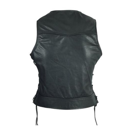 High Mileage HML1042 Womens Lady Biker Leather Motorcycle Vest - Back View