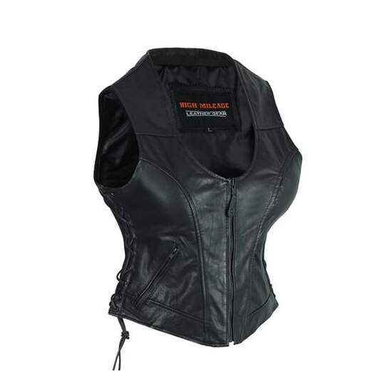 High Mileage HML1042 Womens Lady Biker Leather Motorcycle Vest - Side View
