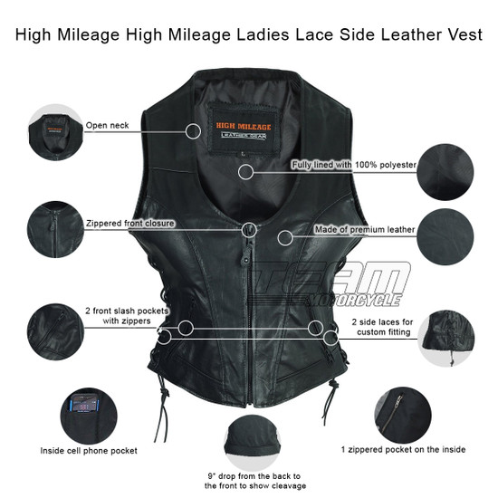 High Mileage HML1042 Womens Lady Biker Leather Motorcycle Vest - Infographics