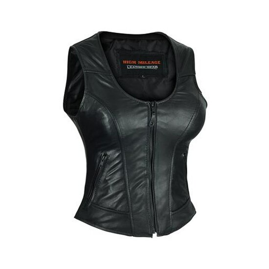 High Mileage HML1041 Womens Lady Biker Leather Motorcycle Vest - Side View