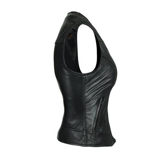 High Mileage HML1041 Womens Lady Biker Leather Motorcycle Vest - Right Side View