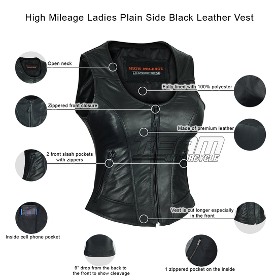 High Mileage HML1041 Womens Lady Biker Leather Motorcycle Vest - Infographics