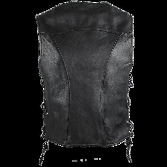 High Mileage HML1040 Womens Black Premium Cowhide Lace Side Biker Leather Vest - Back