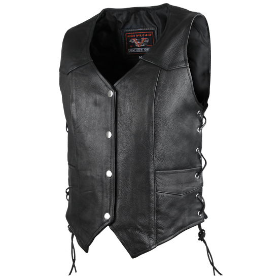 High Mileage HML1040 Womens Black Premium Cowhide Lace Side Biker Leather Vest - side