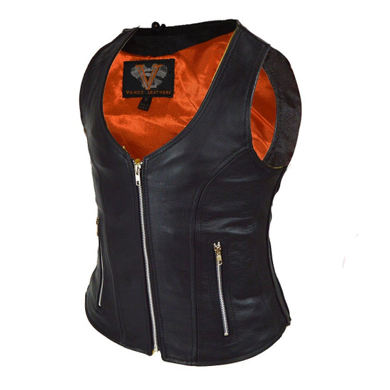 Vance VL1030 Womens Black Zip Pocket Lady Biker Leather Motorcycle Vest - Side View