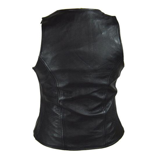 Vance VL1030 Womens Black Zip Pocket Lady Biker Leather Motorcycle Vest - Back View