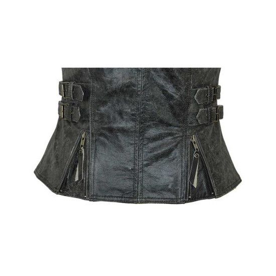 High Mileage HML1037DG Womens Distressed Gray Premium Cowhide Biker Motorcycle Leather Vest With Buckles - Detail View