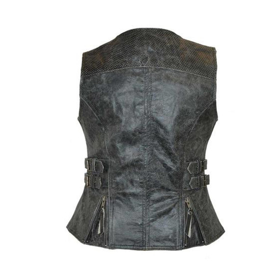 High Mileage HML1037DG Womens Distressed Gray Premium Cowhide Biker Motorcycle Leather Vest With Buckles - Back View