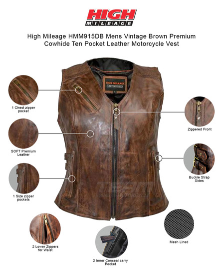 High Mileage HML1037VB Womens Vintage Brown Premium Cowhide Biker Motorcycle Leather Vest With Buckles - Infographics