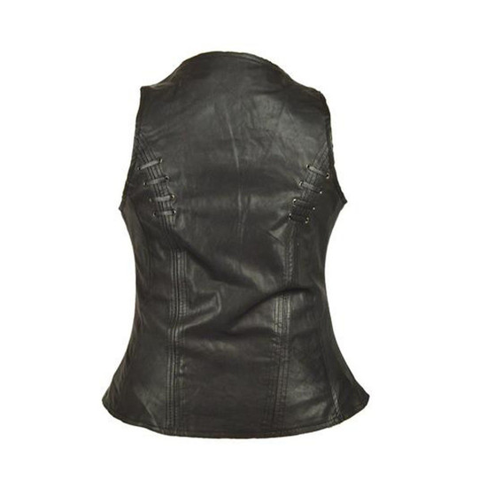 High Mileage HML1038B Womens Black Premium Soft Goatskin Leather Vest With Twill Lace and Grommet Highlights - Back View