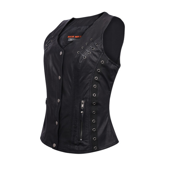 High Mileage HML1038B Womens Black Premium Soft Goatskin Leather Vest With Twill Lace and Grommet Highlights - Side View