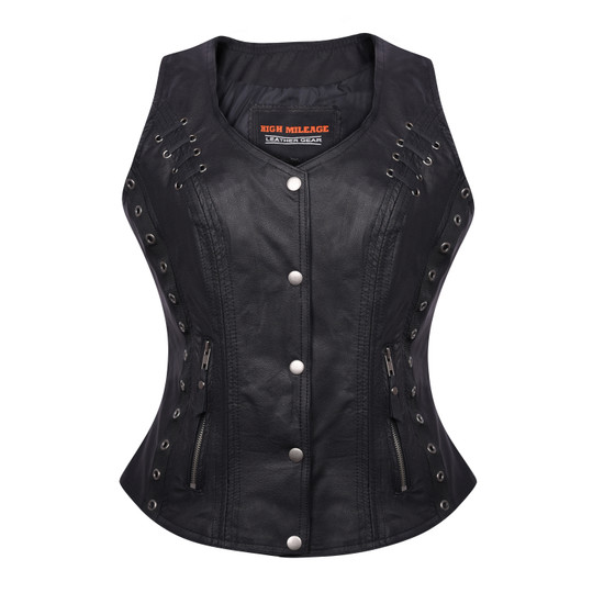 High Mileage HML1038B Womens Black Premium Soft Goatskin Leather Vest With Twill Lace and Grommet Highlights - Front