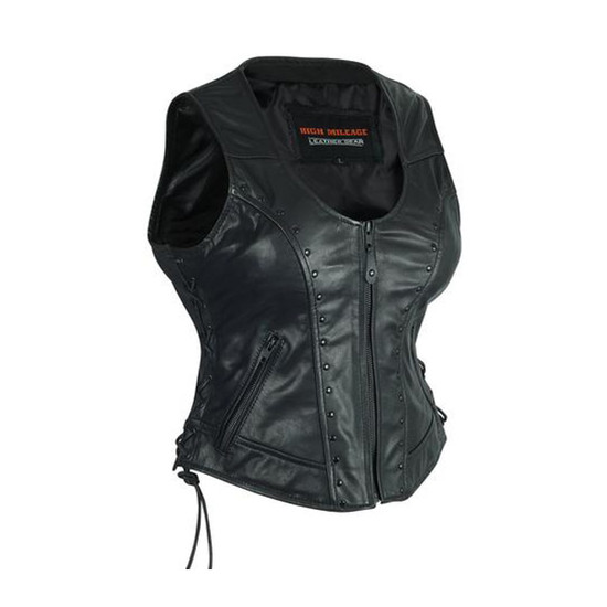 High Mileage HML1043 Womens Lady Biker Leather Motorcycle Vest With Studs - Side View