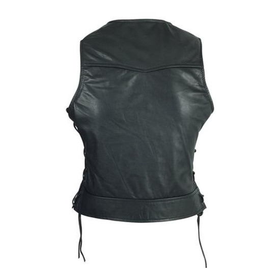 High Mileage HML1043 Womens Lady Biker Leather Motorcycle Vest With Studs - Back View