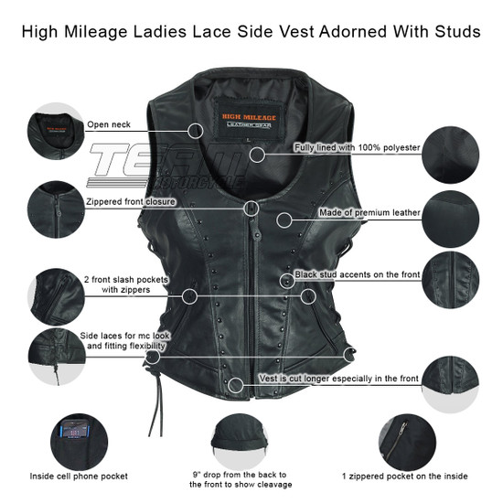High Mileage HML1043 Womens Lady Biker Leather Motorcycle Vest With Studs - Infographics