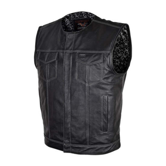 High Mileage HMM919BP Mens Black Paisley Design Liner Premium Cowhide Leather SOA Style Club Vest With Quick Access Conceal Carry Pocket