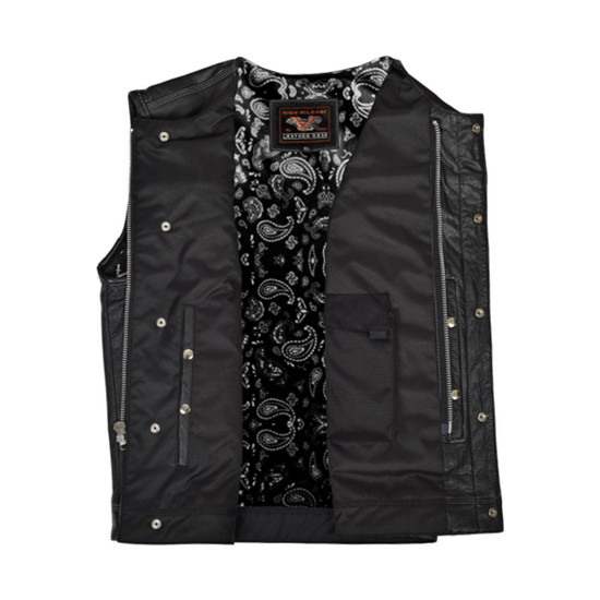High Mileage HMM919BP Mens Black Paisley Design Liner Premium Cowhide Leather SOA Style Club Vest With Quick Access Conceal Carry Pocket - Open View