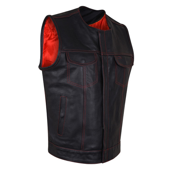 HMM919R Mens Black Premium Cowhide Leather SOA Style Club Vest With Quick Access Conceal Carry Pocket and Red Liner - Side View