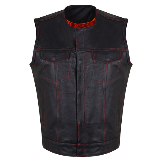 HMM919R Mens Black Premium Cowhide Leather SOA Style Club Vest With Quick Access Conceal Carry Pocket and Red Liner