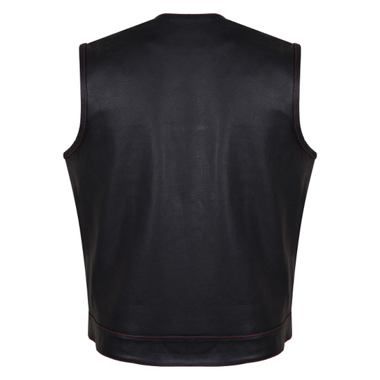 HMM919R Mens Black Premium Cowhide Leather SOA Style Club Vest With Quick Access Conceal Carry Pocket and Red Liner - Back View