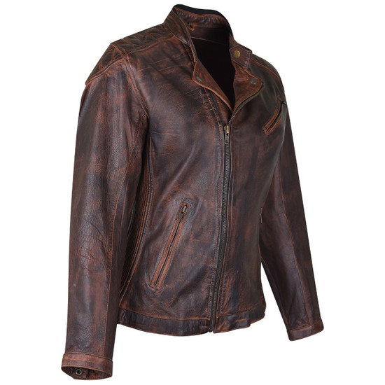 High Mileage HML621VB Women's Vintage Brown Lady Biker Motorcycle Riding Leather Jacket With Diamond Stitched Shoulders - Side View