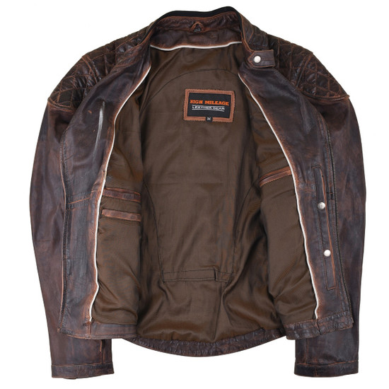 High Mileage HML621VB Women's Vintage Brown Lady Biker Motorcycle Riding Leather Jacket With Diamond Stitched Shoulders - Inside View