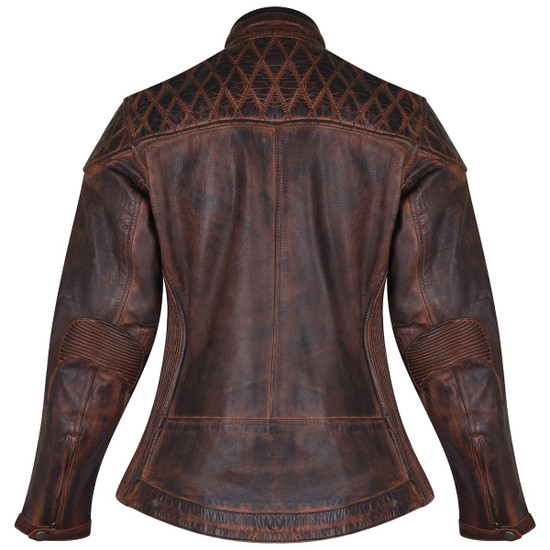 High Mileage HML621VB Women's Vintage Brown Lady Biker Motorcycle Riding Leather Jacket With Diamond Stitched Shoulders - Back View