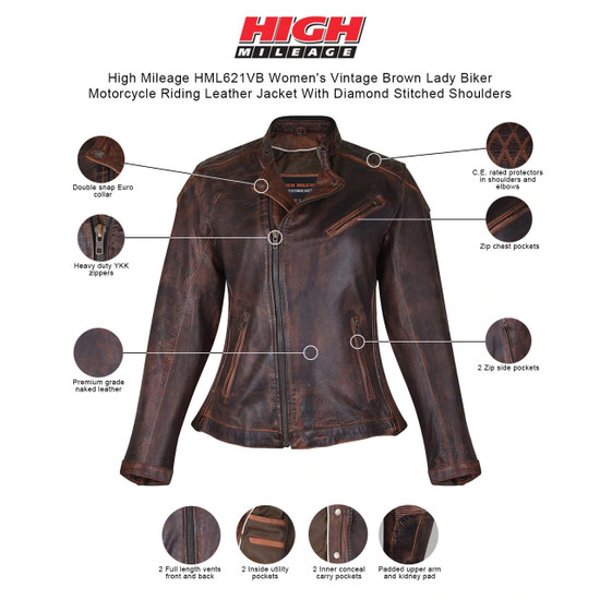 High Mileage HML621VB Women's Vintage Brown Lady Biker Motorcycle Riding Leather Jacket With Diamond Stitched Shoulders - Info graphics