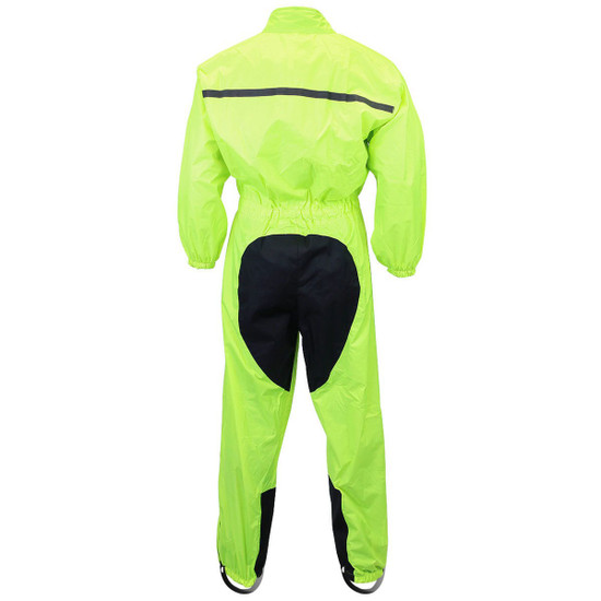 One Piece High Visibility Yellow Motorcycle Rain Gear-Back View