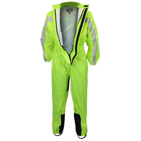 One Piece High Visibility Yellow Motorcycle Rain Gear-Detail View