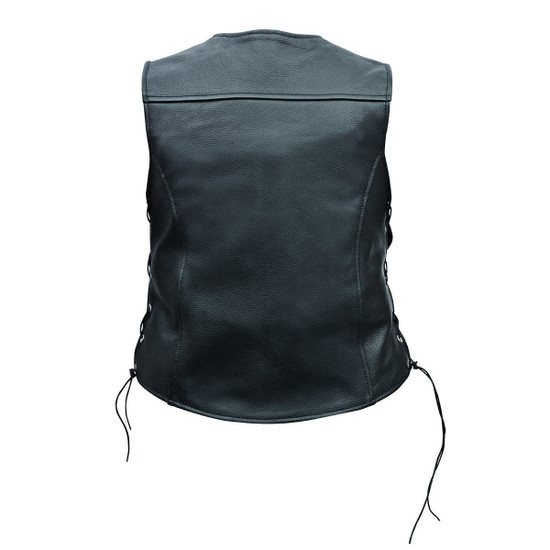 Vance Leather Ladies Economy Leather Five-Snap Lace Side Vest - Back View