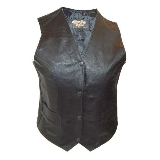 Vance VL1050 Womens Black Lady Biker Leather Motorcycle Vest