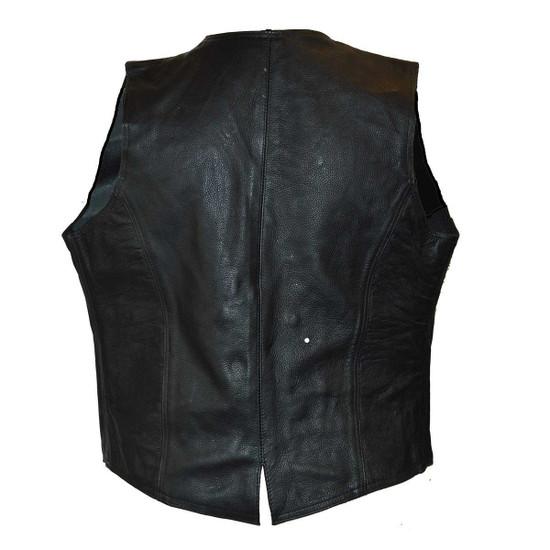 Vance VL1050 Womens Black Lady Biker Leather Motorcycle Vest - Back View