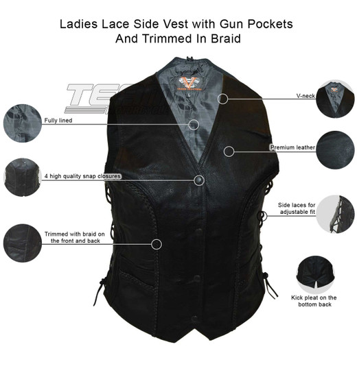 Vance VL1051 Womens Black Braided Lady Biker Leather Motorcycle Vest - Infographics