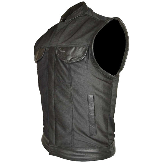 Vance VL1914L Mens Black Front Zipper and Snap Closure SOA Club Style Leather Trimmed Textile Motorcycle Vest - Side View