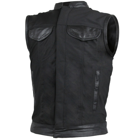 Vance VL1914L Mens Black Front Zipper and Snap Closure SOA Club Style Leather Trimmed Textile Motorcycle Vest