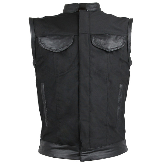 Vance VL1914L Mens Black Front Zipper and Snap Closure SOA Club Style Leather Trimmed Textile Motorcycle Vest - Front View