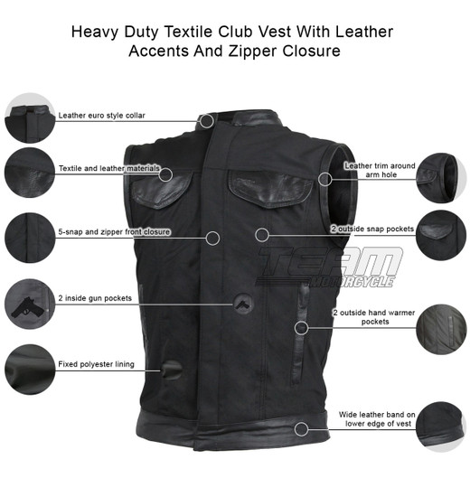 Vance VL1914L Mens Black Front Zipper and Snap Closure SOA Club Style Leather Trimmed Textile Motorcycle Vest - Infographics