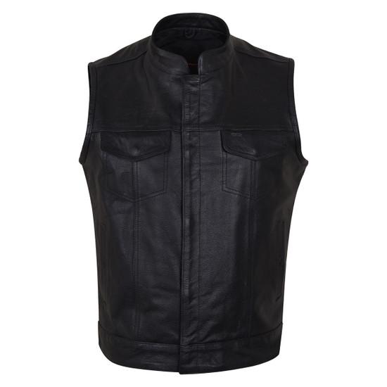 Vance VL914 Men's Black Premium Cowhide Zipper and Snap Closure Concealed Carry SOA Style Leather Biker Motorcycle Vest