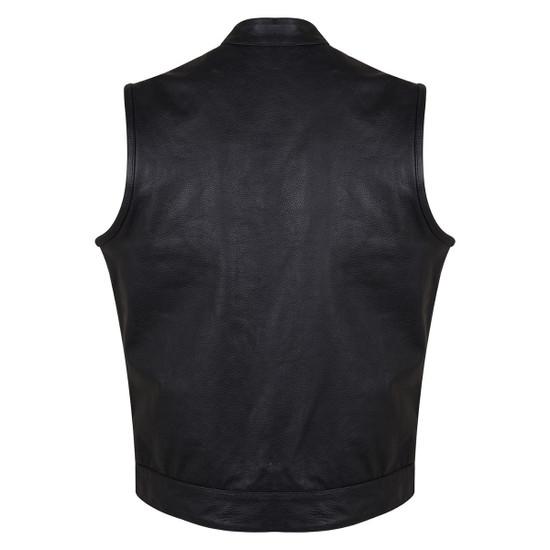 Vance VL914 Men's Black Premium Cowhide Zipper and Snap Closure Concealed Carry SOA Style Leather Biker Motorcycle Vest - Back View