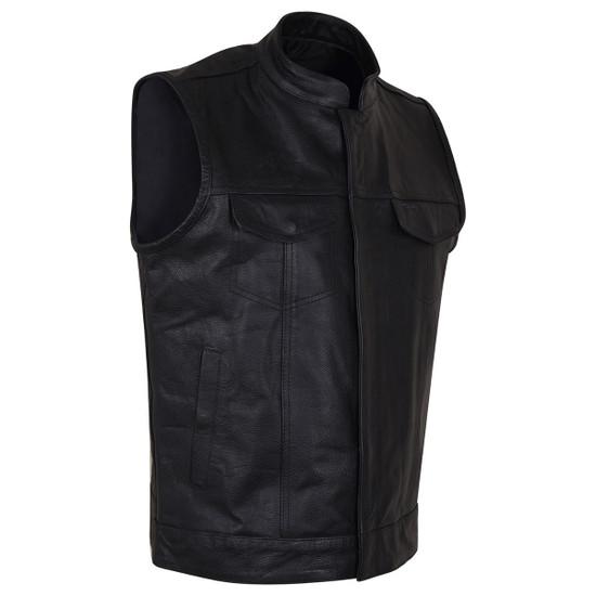 Vance VL914 Men's Black Premium Cowhide Zipper and Snap Closure Concealed Carry SOA Style Leather Biker Motorcycle Vest - Side View