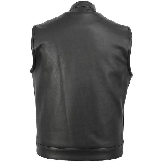 Vance VL914H Mens Black Premium Cowhide Leather Motorcycle Biker SOA Style Club Vest with Hoodie - Back View