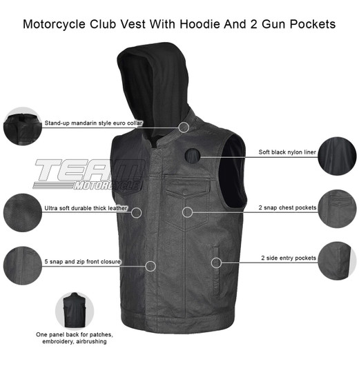 Vance VL914H Mens Black Premium Cowhide Leather Motorcycle Biker SOA Style Club Vest with Hoodie - Infographics