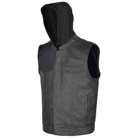 Vance VL914H Mens Black Premium Cowhide Leather Motorcycle Biker SOA Style Club Vest with Hoodie